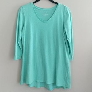 Pure Jill Light Shirred Back Tunic Top Green XS
